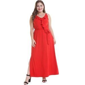 Dresses & Skirts - Orange Ruffle Maxi Dress Belted Elastic Waist